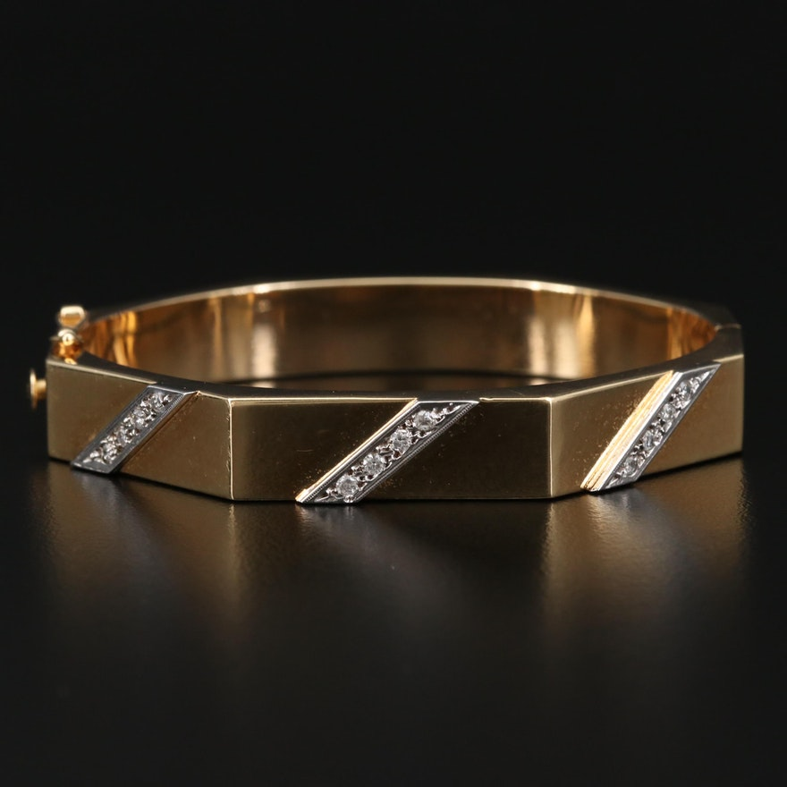 14K Gold Geometric Diamond Hinged Bangle Bracelet
