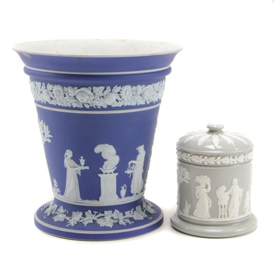 Wedgwood Jasperware Frog Vase and Queensware Trinket Box