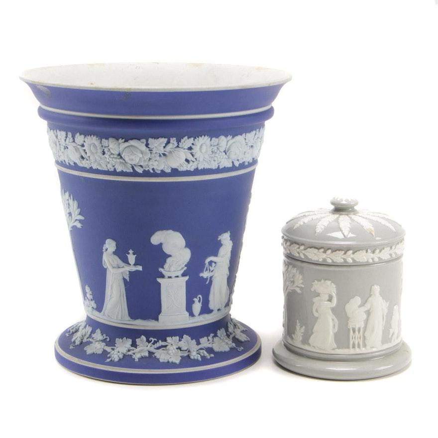 Wedgwood Jasperware Frog Vase and Queensware Trinket Box