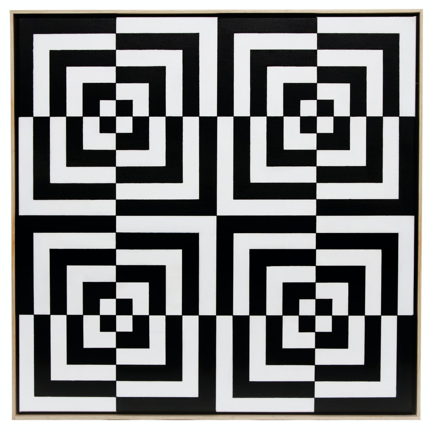 "deSanto Op Art Acrylic Painting ""Collide"""