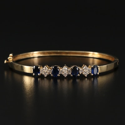 14K Gold Sapphire and Diamond Bangle Bracelet