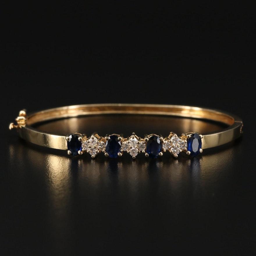 14K Gold Sapphire and Diamond Bangle Bracelet