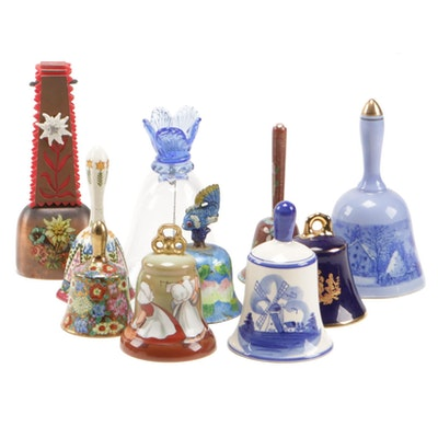 """Royal Bayreuth """"Monday Washing"""" Porcelain Bell and Other Assorted Bells"""