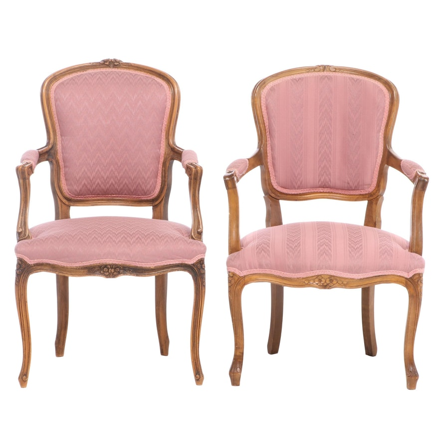 Pair of Louis XV Style Beech Armchairs, Late 20th Century