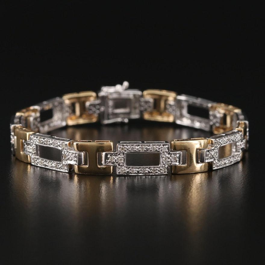14K Two-Tone Gold Diamond Bracelet