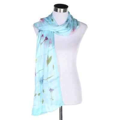 Salvatore Ferragamo Floral Printed Aqua Blue Silk Scarf