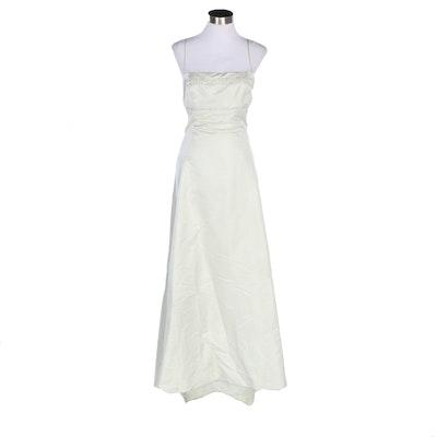 Badgley Mischka Embellished Pale Green Silk Sleeveless Evening Gown