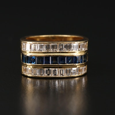 18K Gold 1.49 CTW Diamond and Sapphire Ring