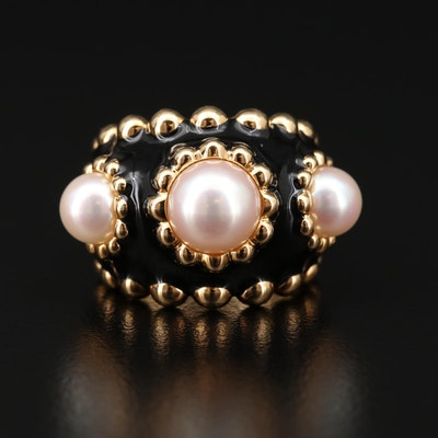Chanel 18K Gold Pearl Ring with Black Enameling
