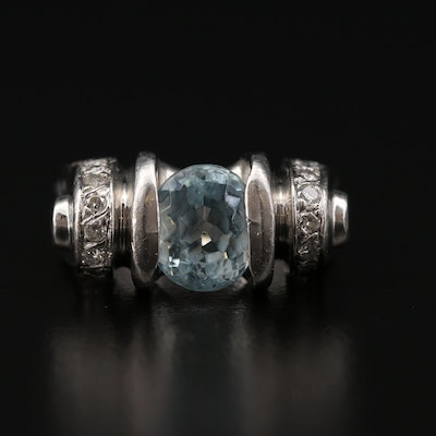 Platinum Aquamarine and Diamond Ring