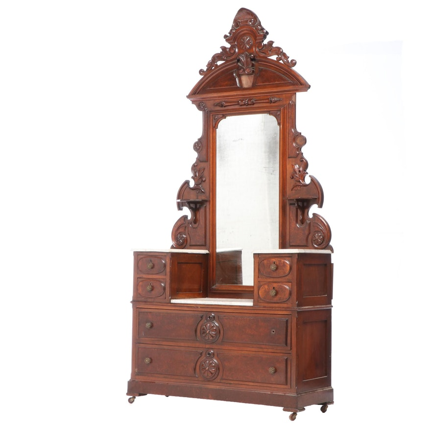 Renaissance Revival Marble Top Walnut Chest of Drawers, Mid to Late 19th Century