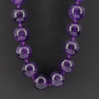 Polished Amethyst Round Beaded Necklace with Sterling Silver Clasp