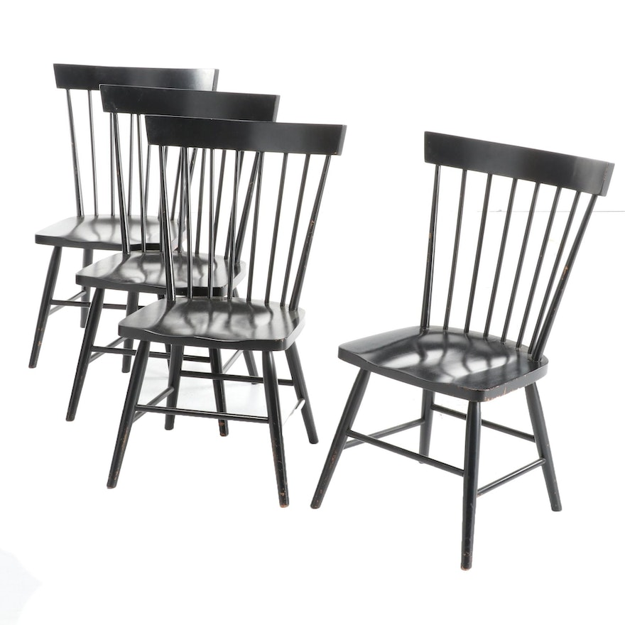 Four American Primitive Style Ebonized Wood Rod-Back Side Chairs