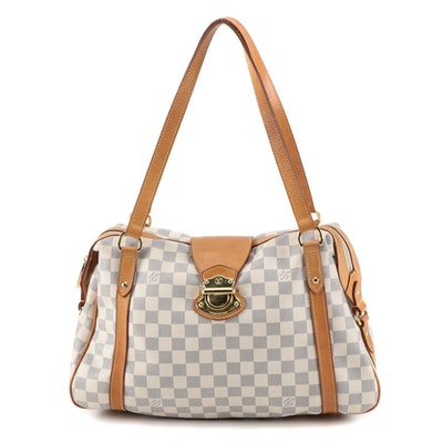 Louis Vuitton Stresa PM Bag in Damier Azur Canvas and Vachetta Leather