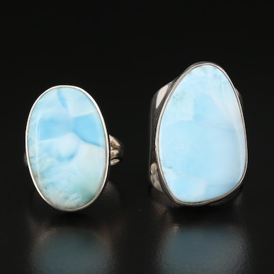Sterling Silver Larimar Rings Featuring Starborn