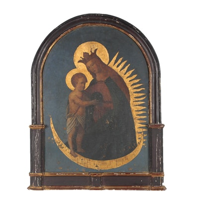 Italian School Oil Painting, The Madonna and Child