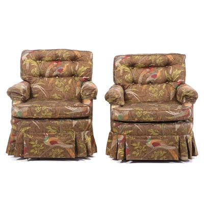 Upholstered Skirted Swivel Rocking Club Chairs, Late 20th Century