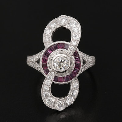 Platinum 1.23 CTW Diamond and Ruby Ring