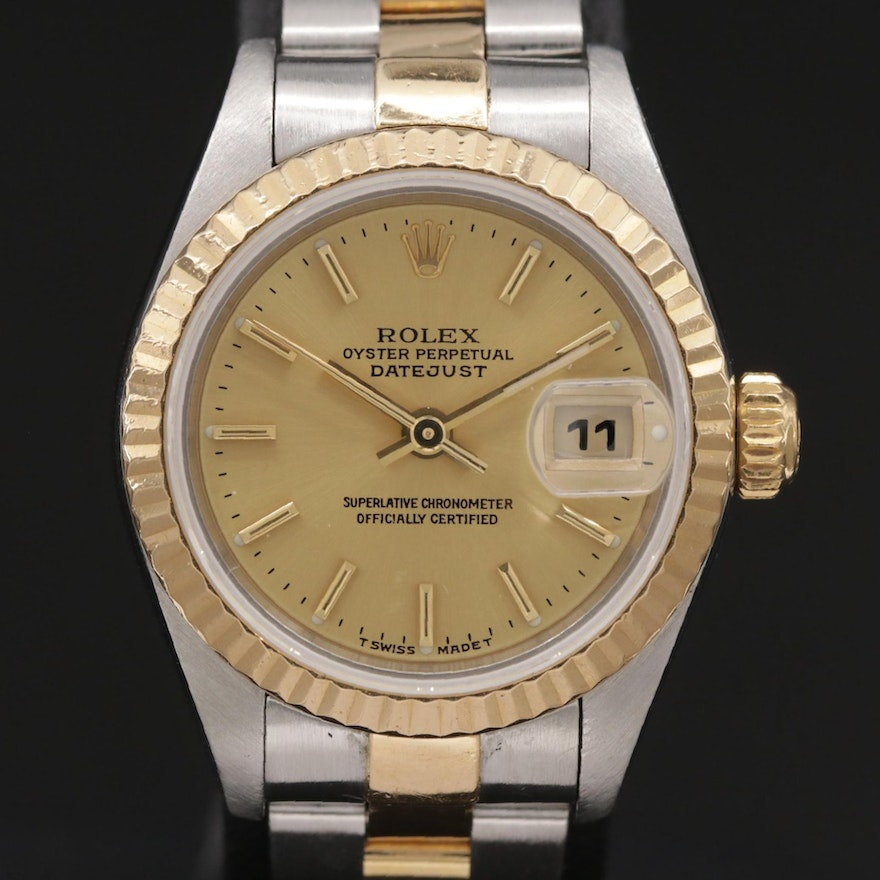 1999 Rolex Datejust 18K Gold and Stainless Steel Automatic Wristwatch