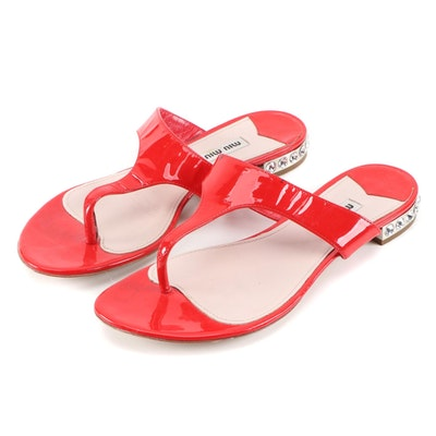 Miu Miu Red Patent Leather Thong Sandals with Embellished Heels