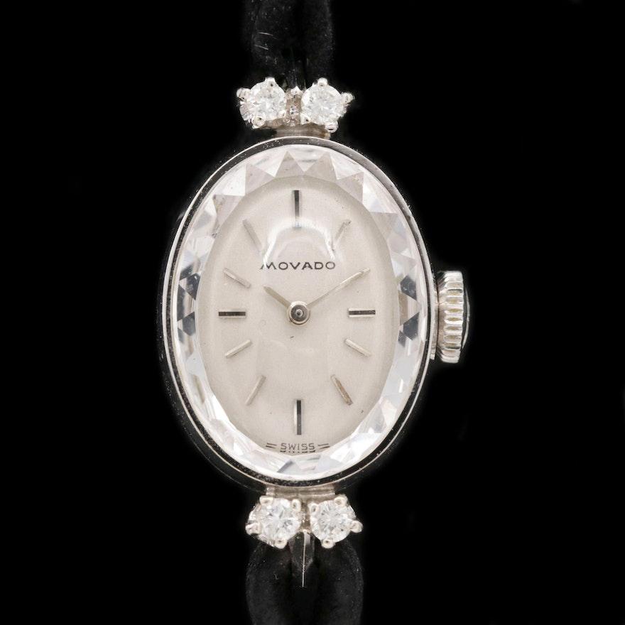 Movado 14K Gold and Diamond Stem Wind Wristwatch, Vintage