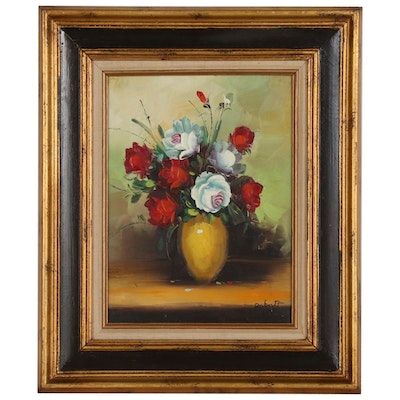 Floral Still Life Oil Painting, Mid to Late 20th Century