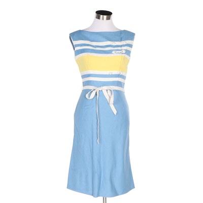 Oleg Cassini Striped Nautical Style Sleeveless Sheath Dress, 1960s Vintage