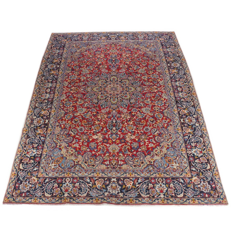 9'1 x 12'9 Hand-Knotted Persian Isfahan Room Size Rug, 1970s