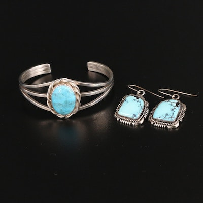 Al Yazze and Robert M. Johnson Navajo Diné Sterling Earrings and Bracelet