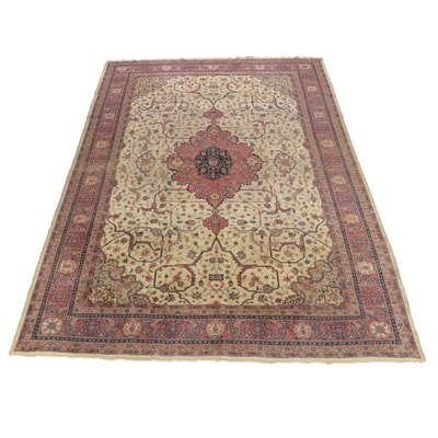 10'1 x 13'9 Handwoven Turkish Oushak Room Size Rug, 1920s