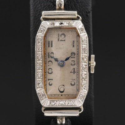 Vintage Hafis 18K Gold and Platinum Diamond Stem Wind Wristwatch