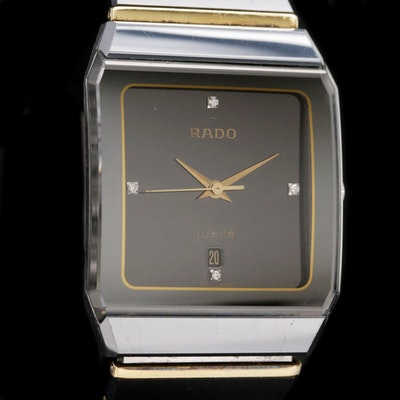 Rado Jubilee 18K Gold and Diamond Dial Ceramic and Stainless Steel Wristwatch