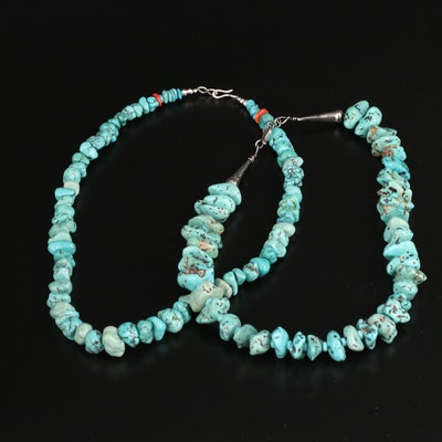 Southwestern Style Turquoise Necklaces Featuring Coral Accent