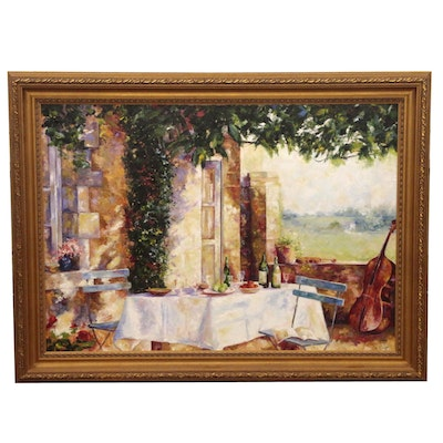 Michelle Puttmann Monumental Impressionistic Oil Painting of Terrace Scene