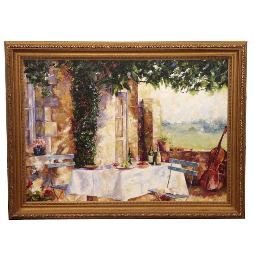 Michelle Puttmann Monumental Impressionistic Oil Painting of Terrace Scene