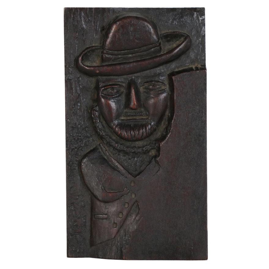 Folk Art Carved Oak Panel of a Man