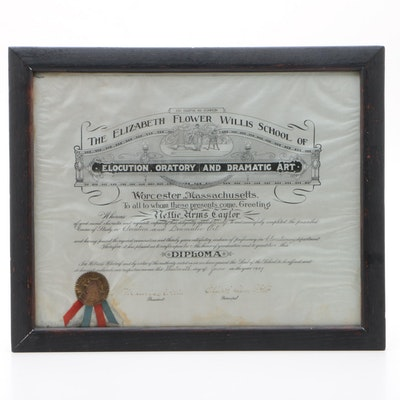 "1907 Diploma from ""The Elizabeth Flower Willis School"", Massachusetts"