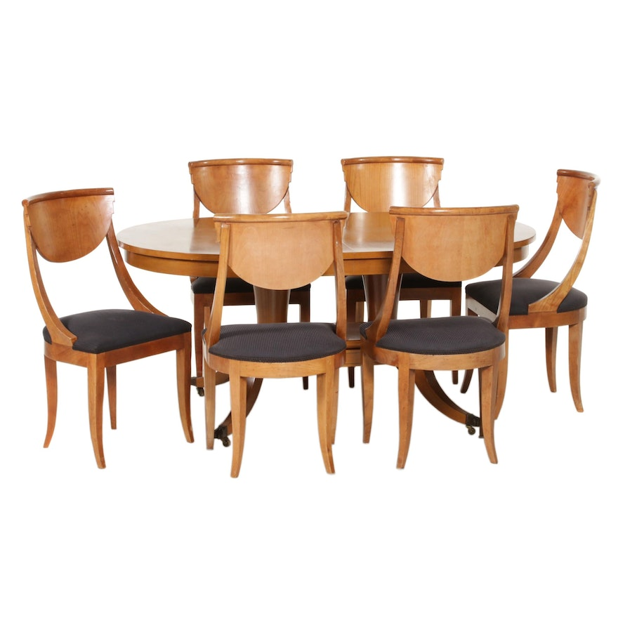 Italian Directoire Style Wooden Dining Table and Chairs