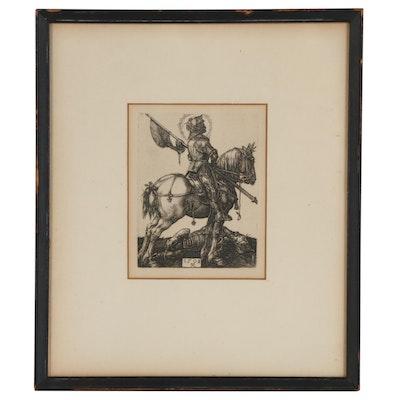 "Line Photogravure After Albrecht Dürer ""St. George on Horseback"""