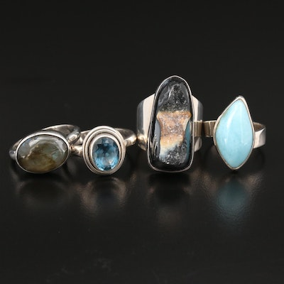 Sterling Silver Ring Selection Featuring Labradorite and Gemstone Accents