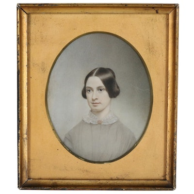 American Portrait Miniature Painting on Celluloid of a Woman, Late 19th Century