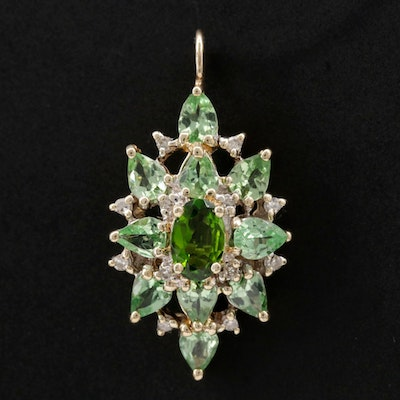 10K Yellow Gold Green Tourmaline and Diamond Pendant