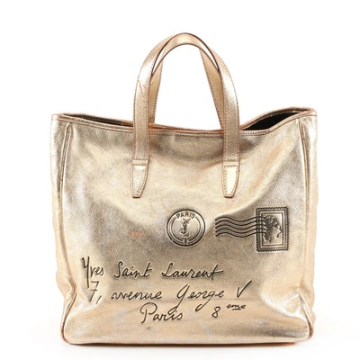 Yves Saint Lauren Rive Gauche Y Mail Metallic Leather Tote