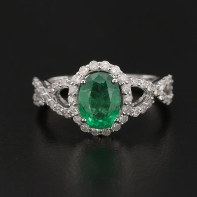 18K White Gold 1.09 CT Emerald and Diamond Ring