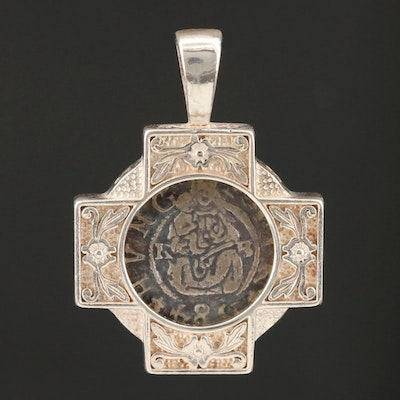 Sterling Silver Cross Pendant Featuring 1584 Hungarian Coin