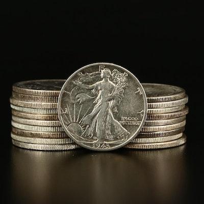 Roll of Twenty Walking Liberty Silver Half Dollars, 1941 to 1947