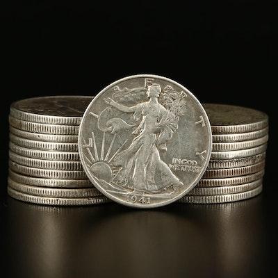 Roll of Twenty Walking Liberty Silver Half Dollars, 1935 to 1946