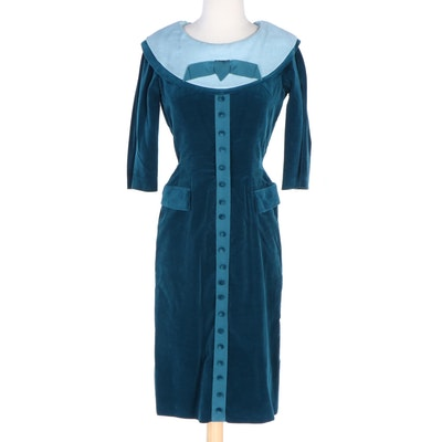 Junior Accent Teal Velveteen Fitted Dress with Contrast Collar, 1950s Vintage