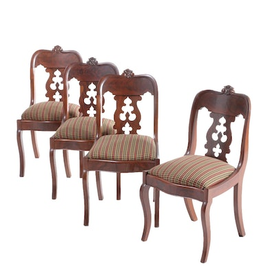 Gothic Revival Mahogany Upholstered Side Chairs, Mid 19th Century
