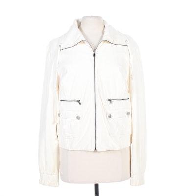 St. John White Lambskin Leather Zip Jacket